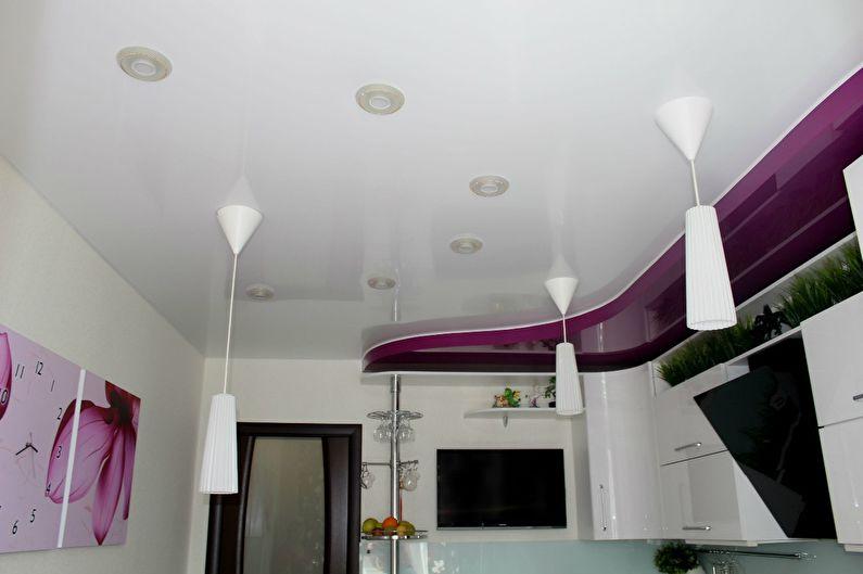 Белый натяжной потолок на кухне - фото