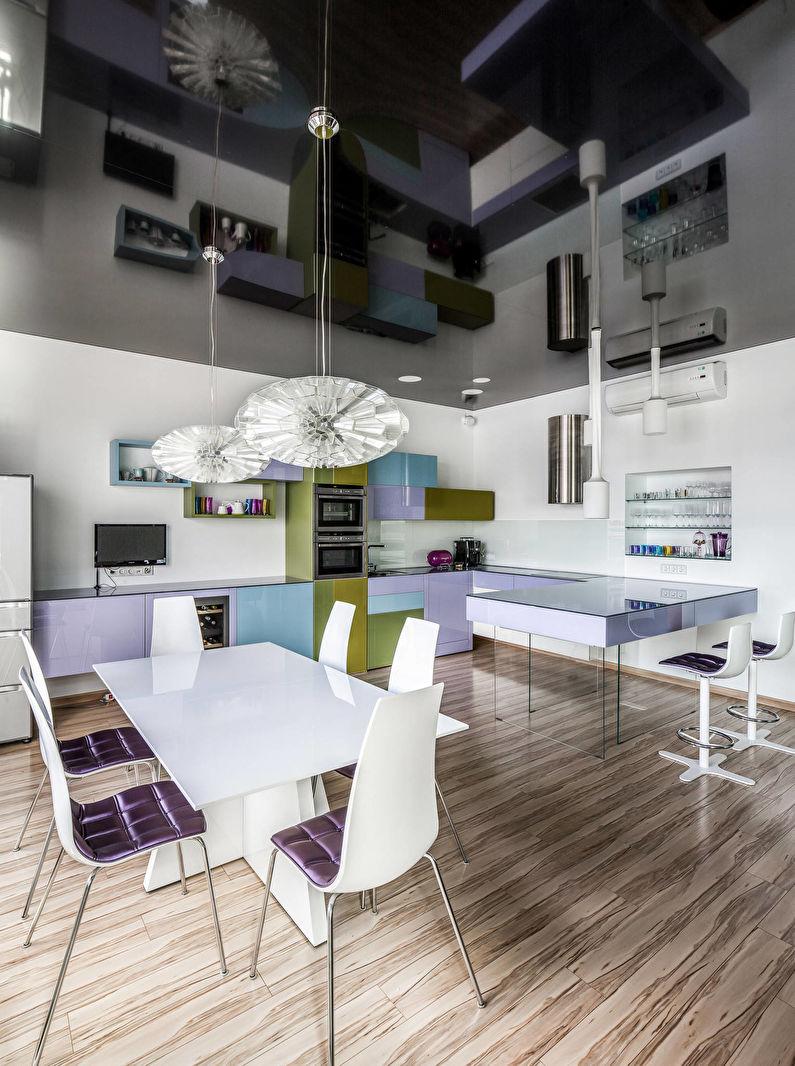 Черный натяжной потолок на кухне - фото