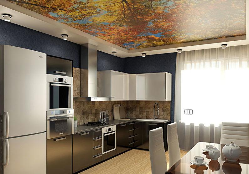 Натяжной потолок на кухне - фотопечать