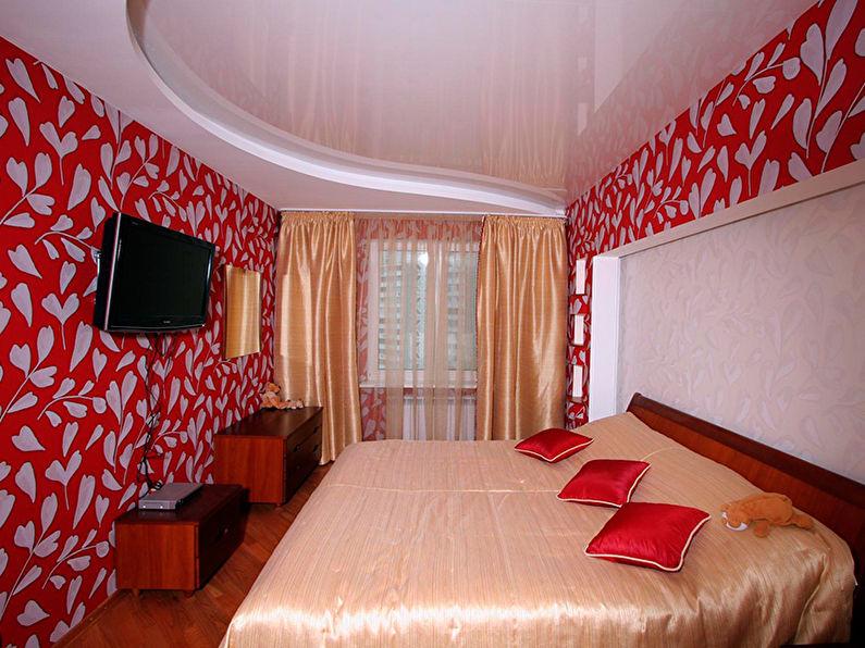 Белый натяжной потолок в спальне - фото