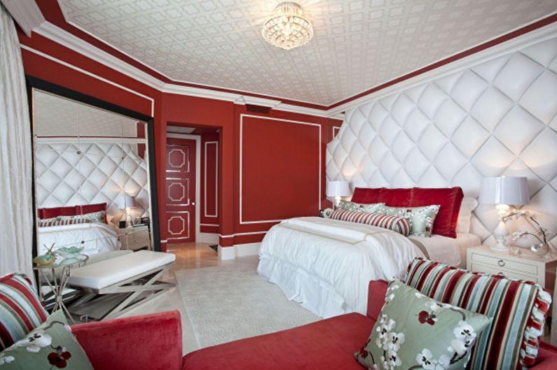 Тканевый натяжной потолок в спальне - фото
