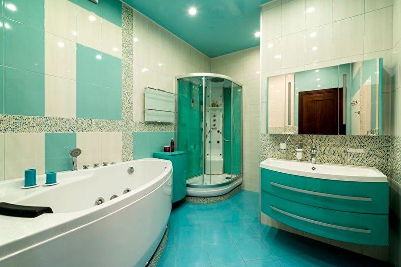 Зеленый натяжной потолок в ванной комнате - фото