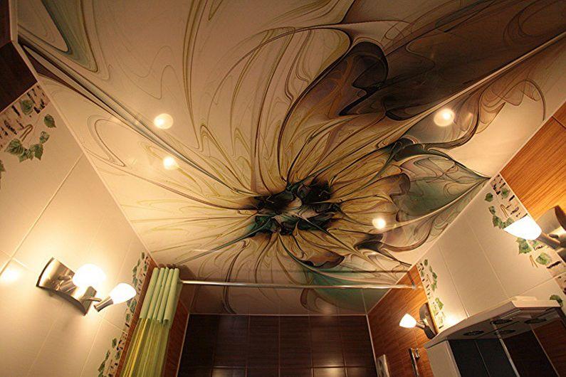 Натяжной потолок в ванной - фото