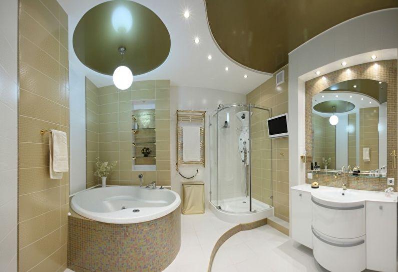 Двухуровневый натяжной потолок в ванной комнате - фото