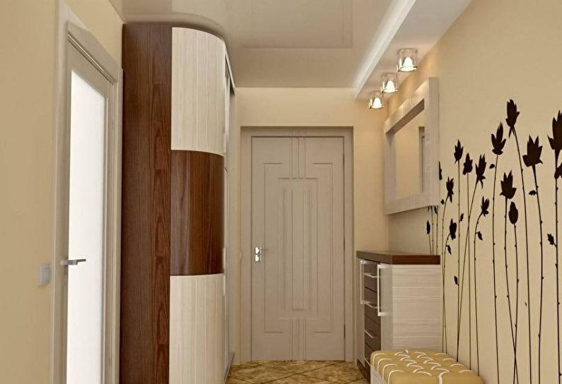 Двухуровневый натяжной потолок в прихожей и коридоре - фото