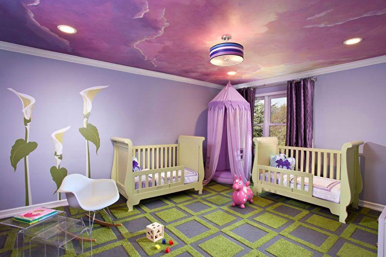 Натяжной потолок с фотопечатью в детской комнате - Небо