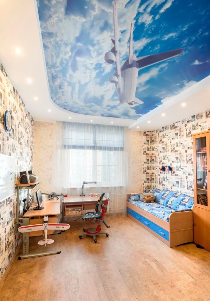 Натяжной потолок в детской для мальчика - Небо и самолет