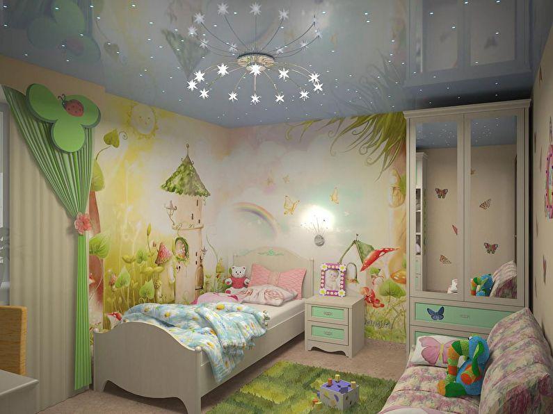 Натяжной потолок в детской комнате - фото