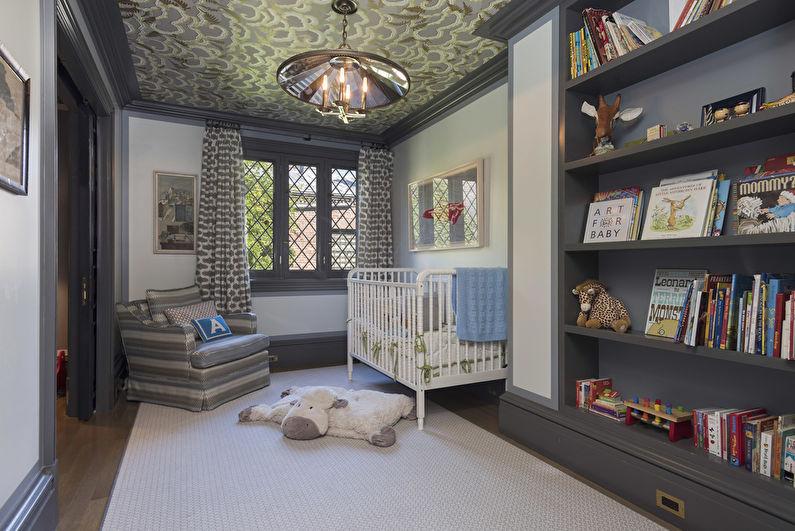 Тканевый натяжной потолок в детской комнате - фото