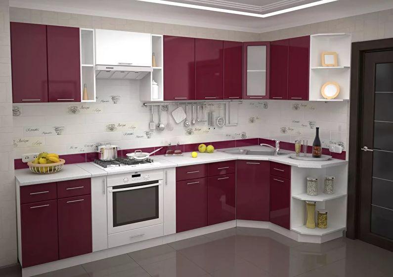 Дизайн кухни 9 кв.м. - Г-образный гарнитур