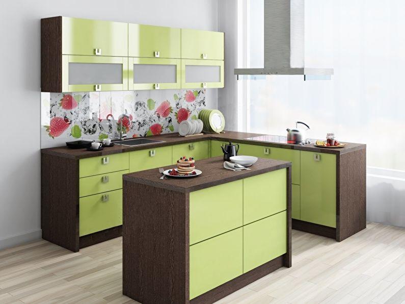 Дизайн кухни 9 кв.м. - Гарнитур с островом
