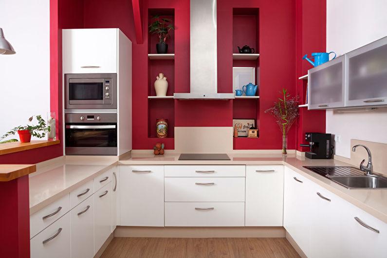 Красный с белым - Дизайн кухни 9 кв.м.