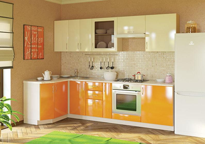 Белый с оранжевым - Дизайн кухни 9 кв.м.