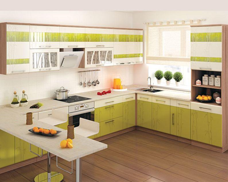 Белый с зеленым - Дизайн кухни 9 кв.м.