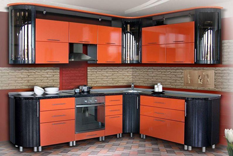 Черный с оранжевым - Дизайн кухни 9 кв.м.
