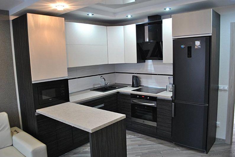 Черный с белым - Дизайн кухни 9 кв.м.