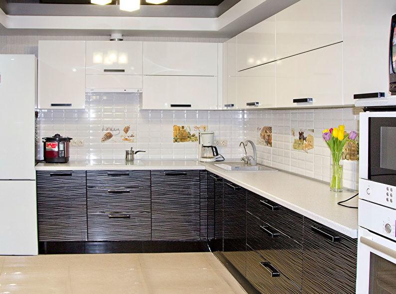 Дизайн кухни 9 кв.м. - Глянцевые текстуры