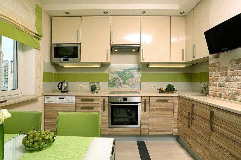 Дизайн кухни 9 кв.м. - Горизонтальные линии