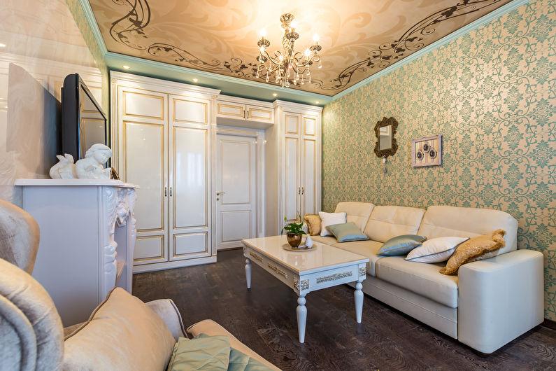 Обои с орнаментом для зала в классическом стиле