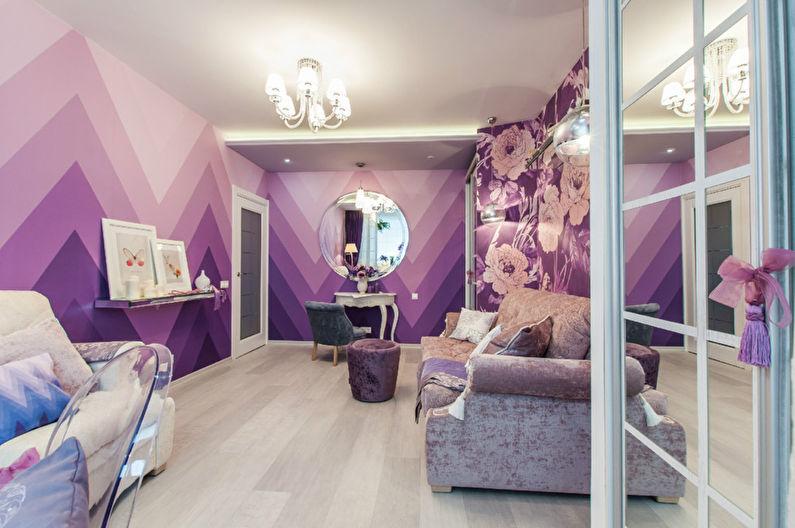 Фиолетовые обои в интерьере зала