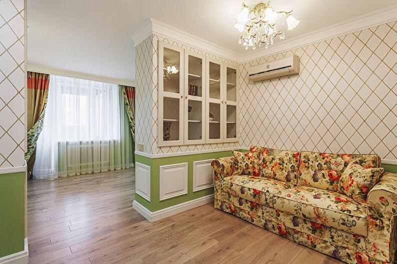 Белые обои для гостиной в стиле прованс