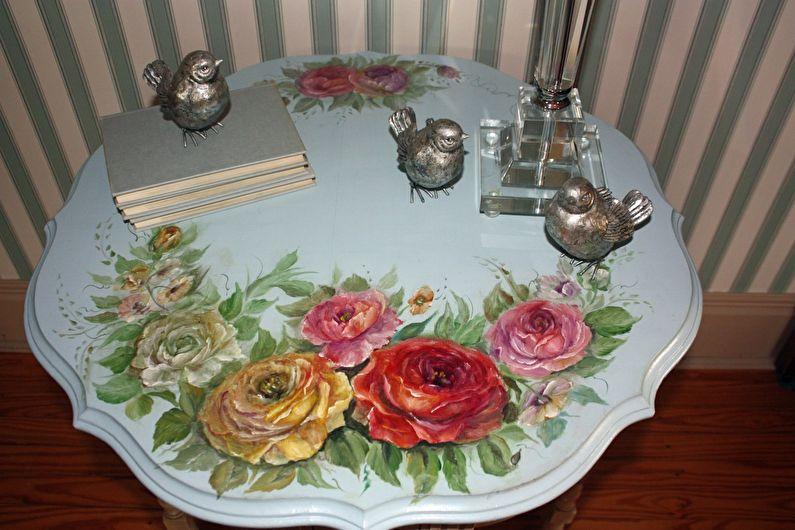Художественная роспись - Декор старого стола своими руками