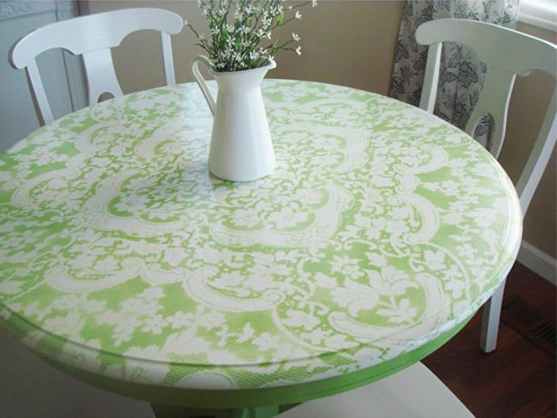 Покраска через тюль - Декор старого стола своими руками