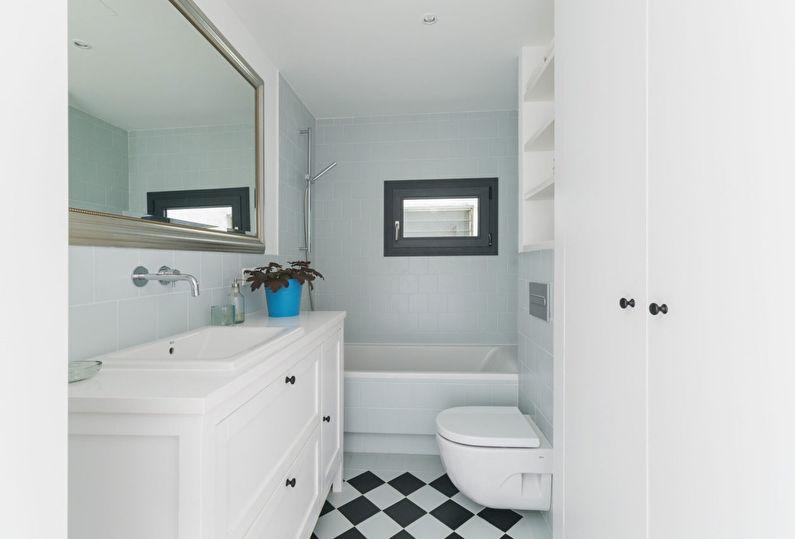 Дизайн пола в маленькой ванной комнате