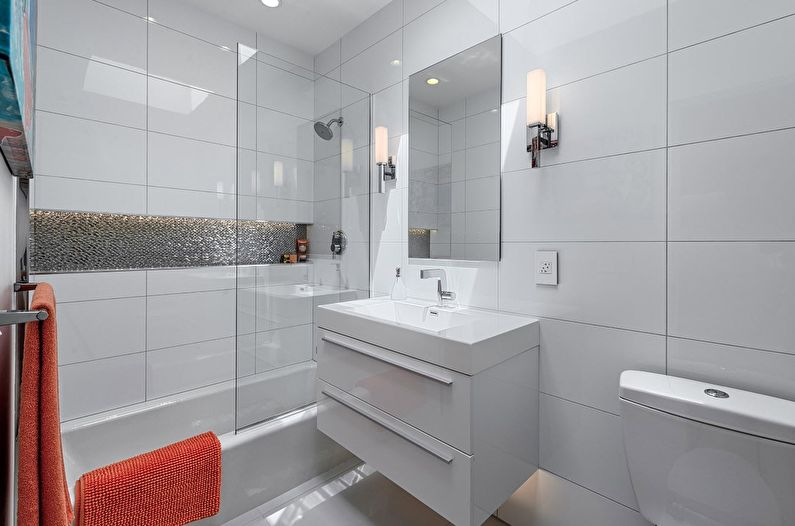 Дизайн маленькой ванной комнаты в стиле минимализм