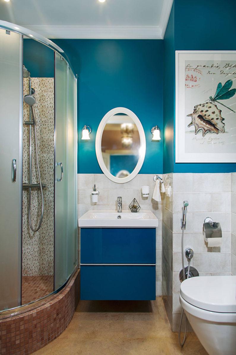 Дизайн маленькой ванной комнаты в синем цвете