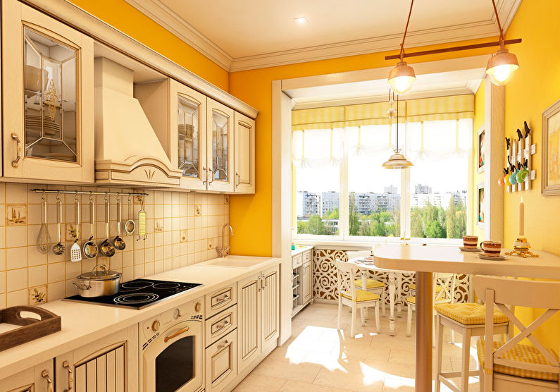 Дизайн оранжевой кухни в стиле прованс
