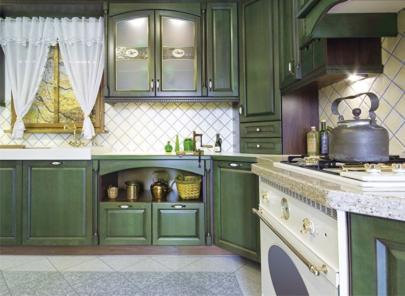 Дизайн зеленой кухни в стиле прованс