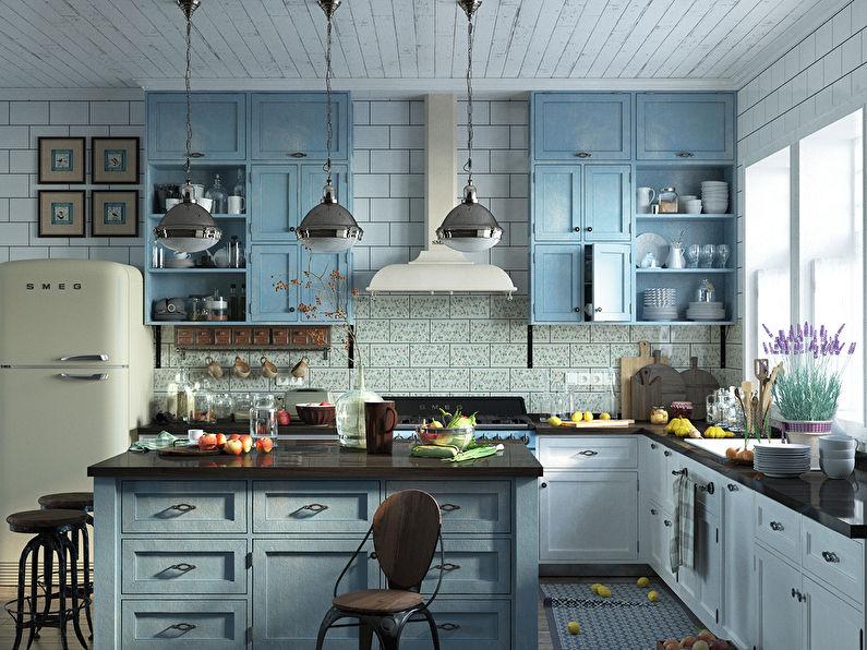 Дизайн сине-белой кухни в стиле прованс