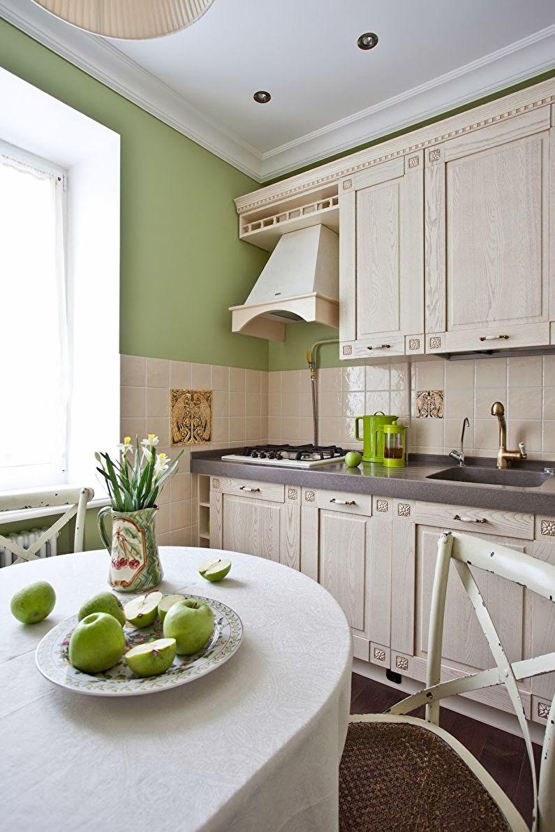 Дизайн бежевой кухни в стиле прованс