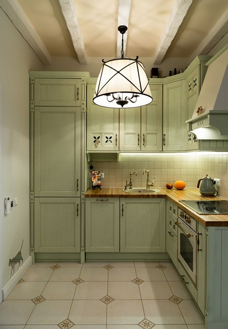 Освещение - дизайн кухни в стиле прованс