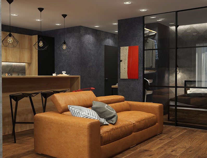 Интерьер однокомнатной квартиры в стиле лофт — Идеи интерьеров