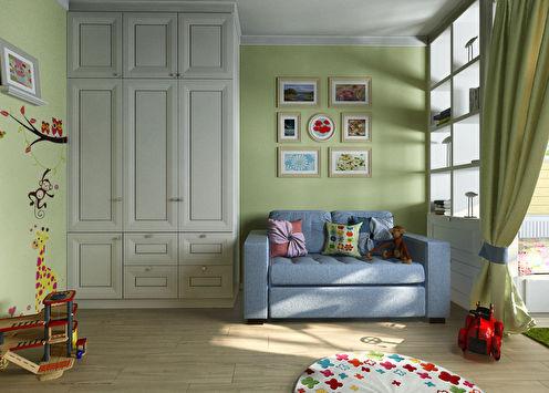 Детская комната для мальчика и девочки, 20 м2