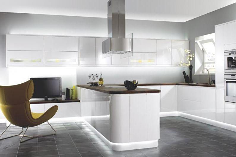 Дизайн кухни 2018 в стиле хай-тек