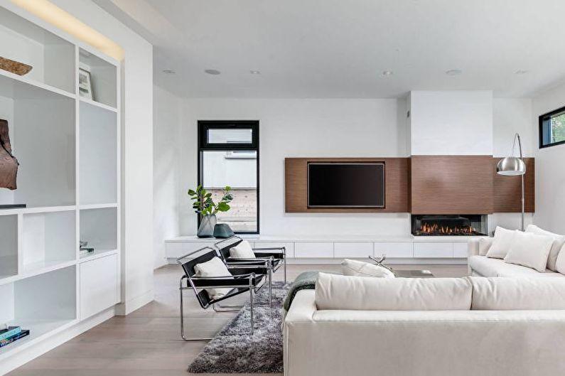 Дизайн гостиной 2018 - Монохромные цвета