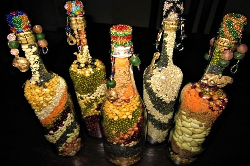Декор бутылок своими руками - Декор крупами