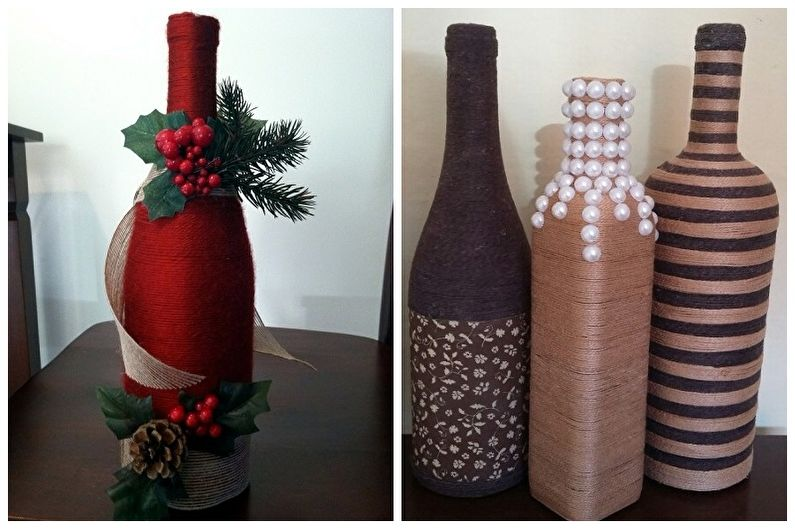 Декор бутылок своими руками - Декор шпагатом