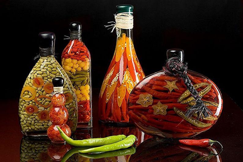 Декор бутылок своими руками - Декор овощами и фруктами