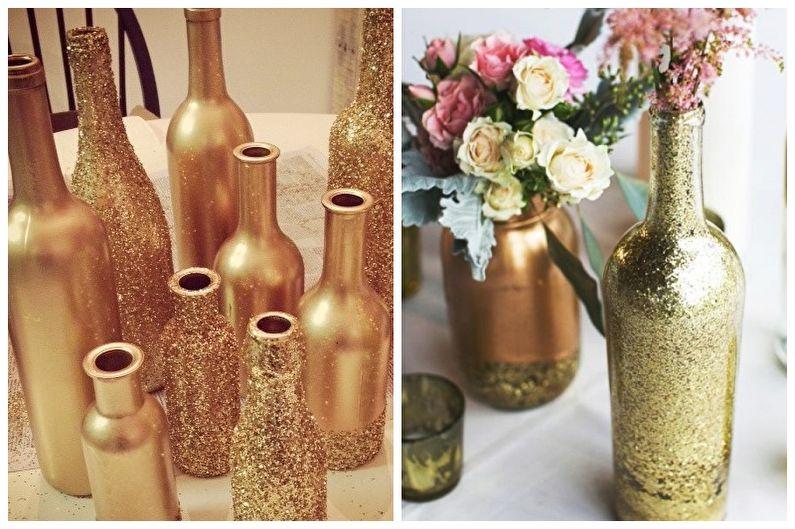 Декор бутылок своими руками - Декор блестками и золотом