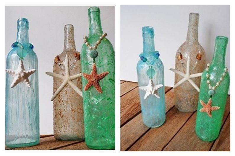 Декор бутылок своими руками - Декор ракушками