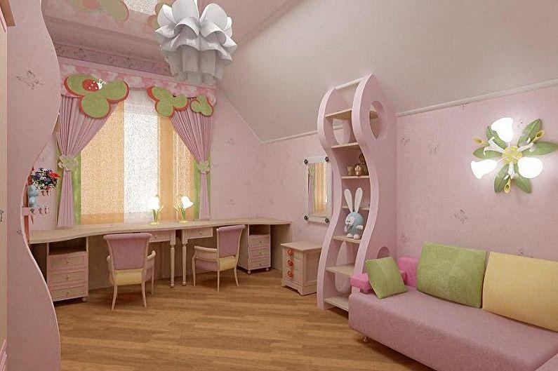 Дизайн детской комнаты для двух девочек - Отделка пола