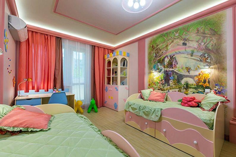 Дизайн детской комнаты для двух девочек - Отделка стен