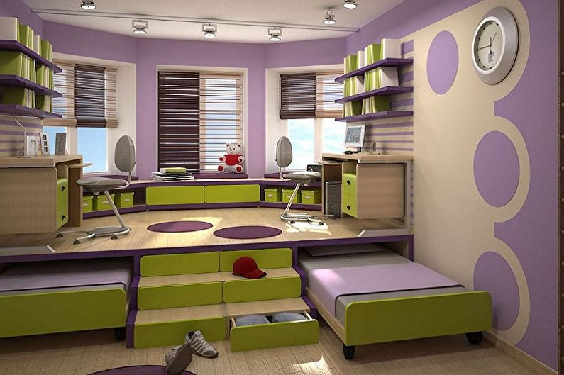 Мебель для детской комнаты для двух девочек - Спальные места
