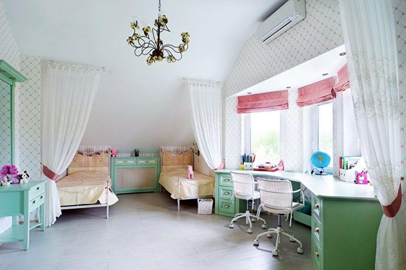 Мебель для детской комнаты для двух девочек - Рабочая зона
