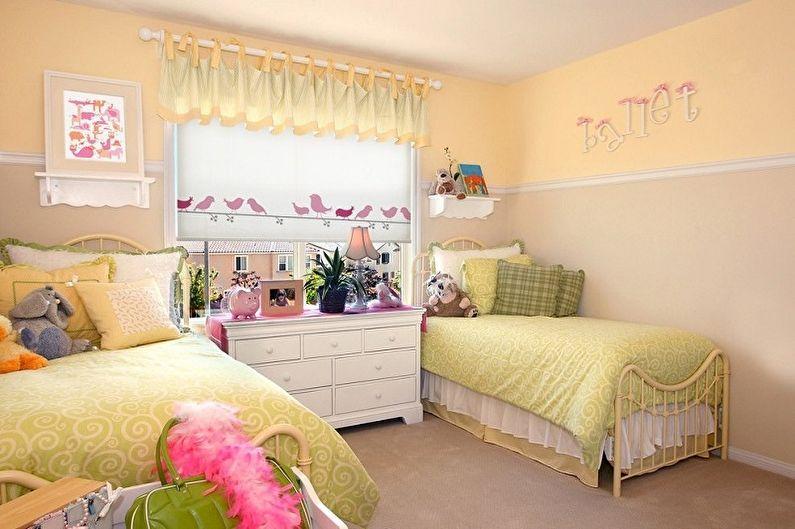 Дизайн детской комнаты для двух девочек - Освещение и декор