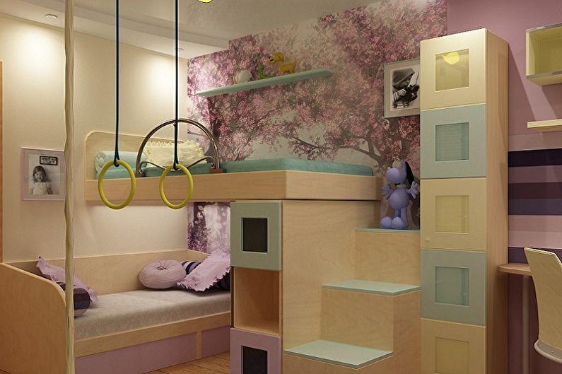 Дизайн интерьера детской комнаты для двух девочек - фото